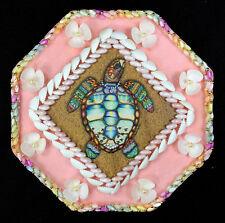 "Seashell Art Sailors Valentine 8"" Octagon Shell Mosaic - Sea Turtle"