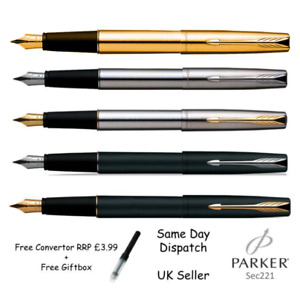 GENIUNE PARKER FRONTIER STAINLESS STEEL FOUNTAIN PEN -BLACK SILVER GOLD