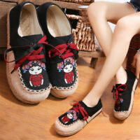 Women's Round Toe Cross Lace Up Embroidery Flat Casual Linen Canvas Shoes
