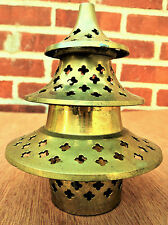 VTG PIER 1 BRASS CHRISTMAS TREE VOTIVE CANDLE HOLDER / INCENSE BURNER W CUT OUTS