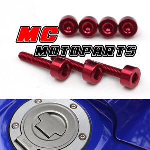 Red CNC Petrol Fuel Cap Bolts Screws For Honda CBR1000RR Fireblade 04 05 06 07