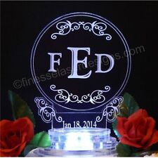 Round Monogram Lighted Wedding Cake Topper Acrylic Personalized Custom Lit LED