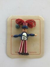 """Vintage July 4Th Patriotic Jointed Wooden 2"""" Uncle Sam Necklace - West Germany!"""