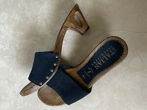 Handmade Italian Shoemakers Clogs Black Leather sz US 6.5 made in Italy