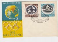 Poland 1956 Melbourne Olympics World Ringed Cancel FDC Stamps Cover Ref 23055