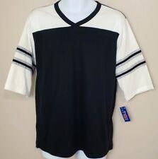 Men's Encino Shirt Retro Style V-Neck Football T Shirt - White/Black/Gray - Med