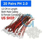 20 SETS Mini Micro JST 2.0 PH 2-Pin Connector plug with Wires Cables 26AWG