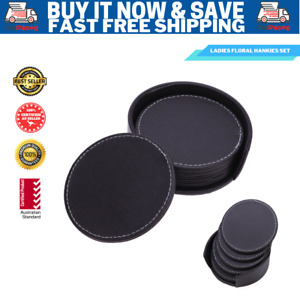 Round 6 PCS PU Leather  Heat Insulation Cup Coffee Mat Holder with Coaster Set