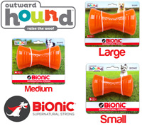 Outward Hound Bionic Strong Tough Dog Bone Chew Toy Holds Treats Snack BPA Kong