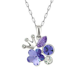 Fashion Silver Crown Charm Purple Crystal Cubic Zirconia Pendant Necklace Gift