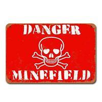Danger Minefield Vintage Tin Sign Metal Decor Metal Sign