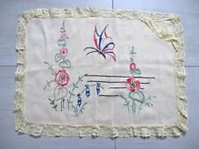 Vintage hand embroidery flowers & yellow linen with lace cushion pillow cover