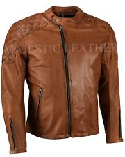 Mens Biker Classic Diamond Motorcycle Antique Brown Vintage Leather Jacket