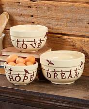 Birds of a Feather Bowls Set Country Hope Dream Love Sentiment 3 Kitchen Bowls