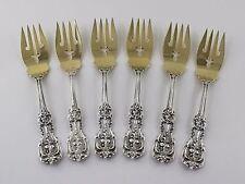 Reed & Barton Francis I 1st Sterling Silver Gold Salad Dessert Forks - Set of 6