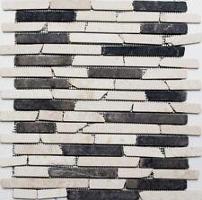 Mosaïque marbre naturel pierre beige noir Brique Biancone 40-0115_f | 10 plaques