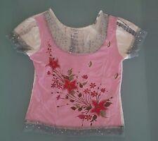 T shirt maglia donna Motivi taglia S rosa bianca e grigia con tulle ricamo fiori