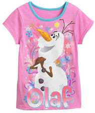 NWT Sz 6 6X Disney Frozen Shirt Olaf Pink Girls snowflake