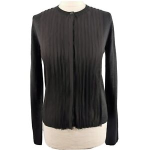 L K Bennett Size M 10 12 Black Pleated Long Sleeve Cardigan Top Fitted Smart