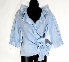 WORTH NY Wrap Top Blouse XS 0 linen silk ruffle 3/4 sleeve blue white seersucker