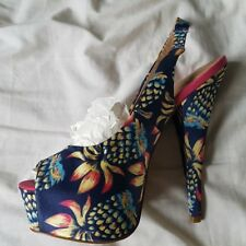 RIVER ISLAND Navy Yellow Pink Pineapple Design Sling Back High Heels Size 5