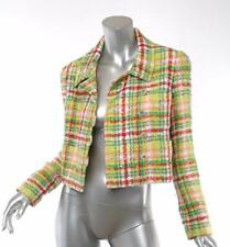 CHANEL '97 Womens Plaid Tweed Cropped Jacket Coat Pearl CC Logo Buttons 36/4 NEW