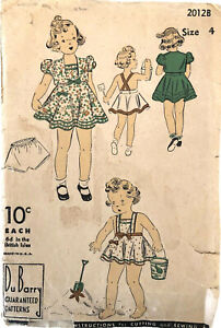 Vintage 1930s 1940s DuBarry 2176 Size 4 Child Sun Dress Sewing Pattern w/ Bolero