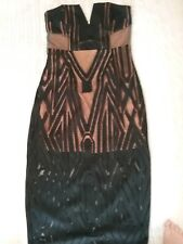 SHONA JOY Stunning Strapless Long Black And Nude Cocktail Dress Size 10.