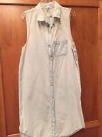 Rag & Bone/Jean SZ M Pale Chambray Blue Sleeveless Button Down Tent Dress