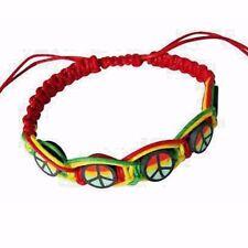 Rasta Leather Wrist Bracelet Peace One Love Hippie Negril Dub Reggae Marley RGY