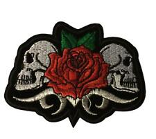 Back To Back Skull Heads With Red Rose Embroidered Iron On Patch
