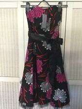 Be Beau Floral Cotton Dress Rockabilly Black Red White Pink £25 RRP BNWT UK 6