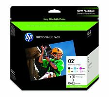 HP Genuine 02 B, C, M, Y, Lt. C, Lt. M Set of 6 Ink Cartridges+Photo Paper  2018
