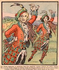 DANSE ECOSSAISE SCOTTISH DANCE WOMEN KILT ECOSSE SCOTLAND IMAGE 1936 OLD PRINT