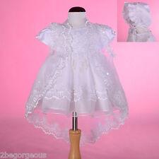 Beaded Baptism Christening Dress Cape Bonnet Wedding White Baby Girl 12-18m #008