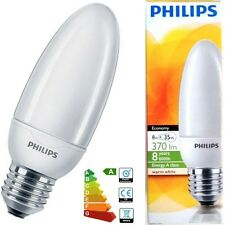 6x 8W Philips Low Energy Power Saving CFL Candle Light Bulbs E27 ES Screw Lamps