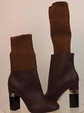 NIB CHANEL G31268 BURGUNDY KANGAROO LEATHER LOGO SOCK ANKLE BOOTS 38 $1550