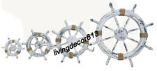 Nautical ship wheel White wooden large steering captain wheel wall decor