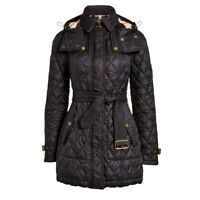 NWT Authentic Burberry Long Finsbridge Belted Quilted Removable Hood Size L