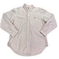 Ralph Lauren Polo Men's Size L Classic Fit Pink White Stripe Long Sleeve Shirt