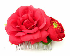 Red Rose Flower Hair Comb Vintage Bridesmaid Ranunculus Slide Rockabilly 50s B43