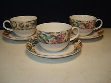 ROYAL DOULTON 1996 EVERYDAY JACOBEAN CUPS AND SAUCERS - SET OF 3