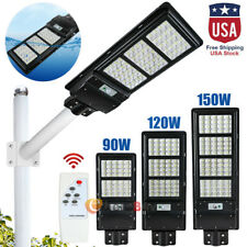 90000LM 150W Solar Street Light LED IP67 Dusk-to-Dawn PIR Sensor Sportlight+Pole