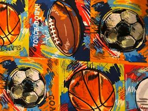 CP56139 Go Sports Soccer Fabric - brushed 100% cotton -1 yard high x 42 wide