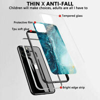 For iPhone 11 11 Pro Max Shockproof Marble Tempered Glass Case Cover Protective
