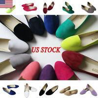 Womens Ladies Slip On Flat Shoe Pumps Ballet Dolly Casual Ballerina Shoes Size