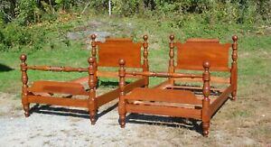 Vintage Pair Traditional Pennsylvania House Solid Cherry Twin Cannonball Beds
