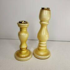 Villeroy & Boch Gold Glitter Yellow Candlesticks Candle Holders Pair