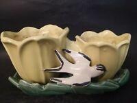Vintage McCoy Pottery Double Planter Cache Pot Yellow Tulips Swallow Bird
