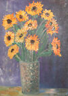 1973 European oil painting still life with flowers signed